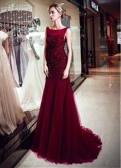 70327f2f10e8 Buy discount Marvelous Tulle Bateau Neckline Full-length Mermaid Evening  Dress With Beadings at Dressilyme