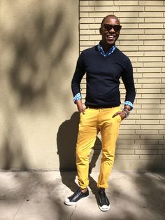 """""""Cleverly Concealing""""  Gingham Shirt - @J.Crew  Navy Merino Sweater - @J.Crew  D-Ring Belt - @J.Crew  Skinny Mustard Chinos - @James Richter  Laceless Jack Purcells - @Converse  Bracelets - @Urban Outfitters  No Show Socks - @Sperry Top-Sider  Weekender Watch - @Timex  Photo Credit: - @JosiahForgath"""