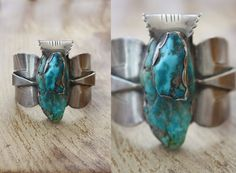Vintage Native American Sterling Silver and Turquoise Bracelet  Heavy Cuff