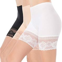 Women Lace Shorts Under Dresses Anti-Friction Lace Short Legging Thigh Band Lace Safety Pants Card Cases-Money Organizers - Adhesive Bras - Ideas of Adhesive Bras Shorts Under Dress, Vintage Underwear, Lingerie Underwear, Women Lingerie, Sticky Bra, Lace Trim Shorts, Backless Bra, Fashion Forms, Shirt Blouses