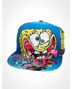 e544b0bbc87 Sublimated Spongebob Snapback Hat - Spencer s