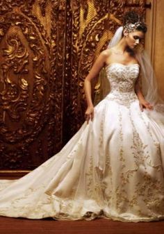 White and tan wedding dress by julie.m