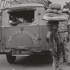 """""""Never Despair,' Accra Bus Terminal, Ghana;"""" 1963 (negative), 1964 (print); by Paul Strand"""