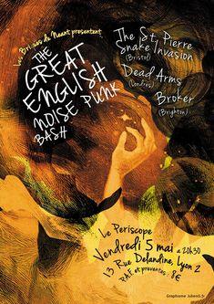 Affiche du concert THE GREAT ENGLISH NOISE PUNK BASH | JulienG graphiste illustrateur Webdesigner Vendée Nantes