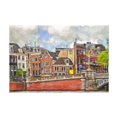 Embankment of Amstel and and TheBlauwbrug. Canvas Print - decor gifts diy home & living cyo giftidea