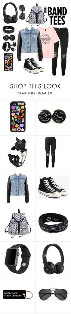 """Band Tees"" by unique04 ❤ liked on Polyvore featuring Casetify, AMIRI, rag & bone, Converse, Swarovski, Apple, Beats by Dr. Dre, Various Projects and Yves Saint Laurent"