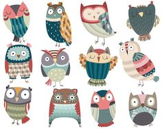 Owl Clipart Set of 12 Unique Hand Drawn Owls by KennaSatoDesigns