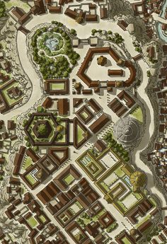 ArtStation - City of Mytros [Odyssey of the Dragonlords], John Stevenson Fantasy Map Making, Fantasy City Map, Fantasy World Map, Fantasy Places, Old Maps, Antique Maps, Dnd World Map, Rpg World, Pathfinder Maps