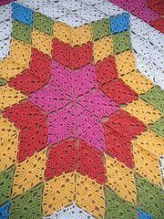 Prairie Star Afghan Pattern by - Crochet wedding wedding flowes Crochet Quilt Pattern, Granny Square Crochet Pattern, Crochet Squares, Crochet Granny, Crochet Motif, Crochet Stitches, Crochet Afgans, Crochet Blankets, Crochet Triangle
