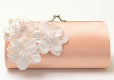Items similar to Shabby Chic Peach Clutch - Bridal Clutch Bridesmaid Clutch - Kisslock Snap Petite Bouquet Clutch - Shabby Clutch - Ivory Velvet Flowers on Etsy Bridesmaid Clutches, Bridesmaid Bouquet, Bridesmaid Gifts, Custom Clutches, Alternative Bouquet, Handmade Clutch, Bridal Clutch, Wedding Bag, Just Peachy