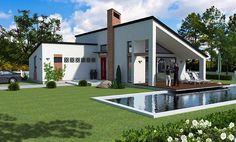proiecte-de-case-cu-parter-si-trei-dormitoare-three-bedroom-single-story-house-plans-1 Design Case, Home Fashion, Home Kitchens, Tiny House, House Design, Mansions, House Styles, Interior, Outdoor Decor