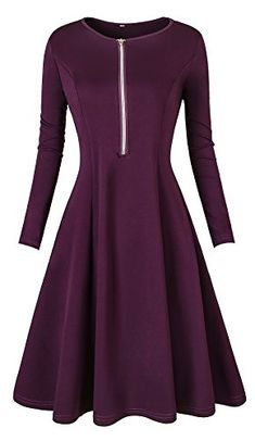 ae1263e9e97 VOGRYE Women s Long Sleeve Elegant Vintage A Line Dresses... https