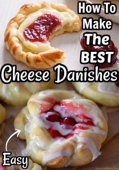 Easy Cherry Danish Recipe, Strawberry Danish Recipe, Mini Danish Recipe, Pecan Danish Recipe, Danish Recipe Puff Pastry, Cherry Cheese Danish Recipe, Cherry Cream Cheese Pie, Cream Cheese Pastry, Breakfast Cheese Danish