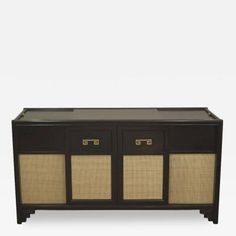 Black Lacquer Credenza with Caned Panels and Greek Key Accent