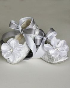 Silver Baby Ballet Slipper, Toddler Flower Girl Shoe in Gold, Ivory, White…