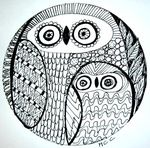 """Les zendalas; Carrement Crazy shows an interesting way to draw zentangles. This is a """"chouette famille,"""" or owl family."""