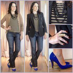 Caramelo + preto + azul Klein: look de trabalho; work were, work outfit