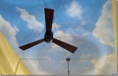 I'd like the ceiling to be painted sky blue with a few clouds. This picture looks nice minus the fan