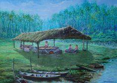 Casa da Farinha(2006),acrílico sobre tela de Jeriel.Dimensões:108 x 77,5cm. Coleção Particular (AP). Composição em  Isocromia