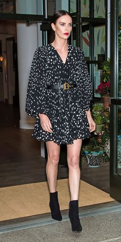 For an episode of The Tonight Show with Jimmy Fallon, Charlize Theron wore a mini Christian Dior dress with boots. Charlize Theron Style, Christian Dior Dress, Beige Pumps, The Hollywood Reporter, Spring Jackets, Short Mini Dress, Latest Outfits, Girl Fashion, Womens Fashion
