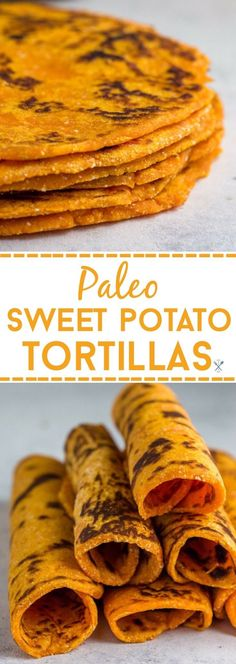 These grainless, eggless, paleo sweet potato tortillas are the perfect healthy alternative for flour or corn tortillas. Simple ingredients and freezer friendly. via Chrissa - Physical Kitchness Good Sweet Potato Recipe, Paleo Sweet Potato, Sweet Potato Tacos, Simple Sweet Potato Recipes, Simple Healthy Recipes, Vegetarian Sweet Potato Recipes, Sweet Potato Flour, Sweet Potato Pancakes, Mexican Food Recipes