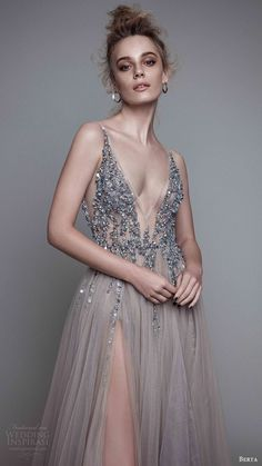 berta rtw fall 2017 (17 11) sleeveless deep v neck a line beaded bodice evening…