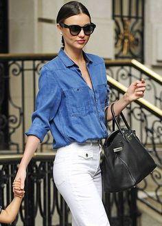 Miranda Kerr in a blue denim shirt and white style flared jeans. - - Miranda Kerr in a blue denim shirt and white style flared jeans. Fashion: Blue clothing Miranda Kerr in a blue denim shirt and white style flared jeans. Fashion Mode, 70s Fashion, Look Fashion, Fashion Outfits, Womens Fashion, Denim Fashion, Fashion Wear, Latest Fashion, Estilo Miranda Kerr
