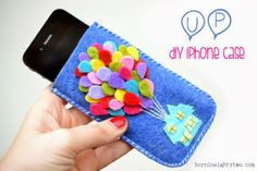 DIY UP Felt iPhone Case Tutorial from Chocolate & Craft .Do you know someone who loves the movie UP? This easy DIY requires minimal skill and lots of colorful felt. Felt Phone Cases, Felt Case, Diy Phone Case, Iphone Cases, Diy Case, Disney Diy, Disney Crafts, Felt Diy, Felt Crafts