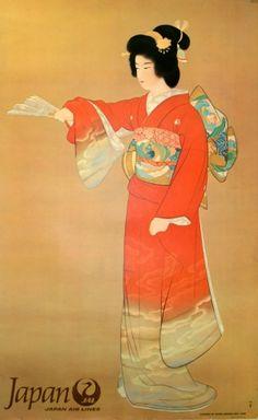 Japan JAL - original vintage poster by Shoen Uempura listed on AntikBar.co.uk