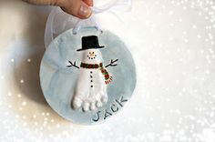 Ceramic Baby Handprint Kit Online for Baby Cast in ceramic clay and done from anywhere: Foot print Snowman ornament Babies First Christmas, Christmas Baby, Winter Christmas, Christmas Holidays, Christmas Decorations, Baby Crafts, Holiday Crafts, Crafts For Kids, Snowman Ornaments