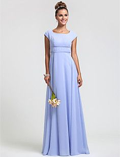 Sheath/Column Square Floor-length Chiffon Bridesmaid Dress – GBP £ 51.31