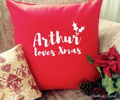 Love Xmas Christmas Cushion,Christmas Cushion Cover,Xmas Cushion,Personalised Cushion,Cushion,Christmas Decorations,Christmas Gift Ideas,Red