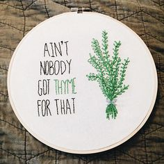 Hand Embroidery Art, Kitchen Decor, Herb Embroidery Hoop
