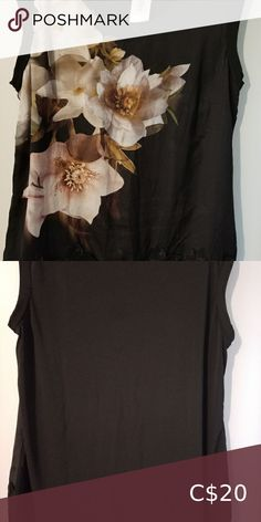 Black Top with floral front XL Black Top with floral front and lace applique type detail at the bottom (hemline)with plain back. Front is silk type fabric and back is stretch fabric. See pictures. New with tag. Plus Fashion, Fashion Tips, Fashion Design, Fashion Trends, Lace Applique, Stretch Fabric, Black Tops, Hemline, Top Colour
