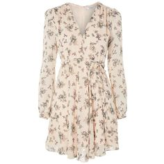 Floral Plunge Skater Dress by Glamorous (£30) ❤ liked on Polyvore featuring dresses, vestidos, blush, pink long sleeve dress, pink floral dress, plunge dresses, long sleeve floral dress and plunge skater dress
