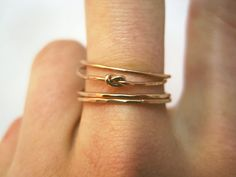 Four Delicate Rose Gold Infinity Knot Stacking Rings