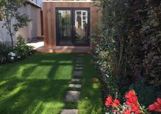 Contemporary gallery on Sanctum Garden Studios Modern Patio Doors, Garden Studio, Sheds, Studios, Sidewalk, Therapy, Gardens, Cabin, Gym