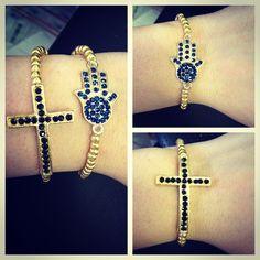 gold hamsa hand with deep blue rhinestones bracelet.