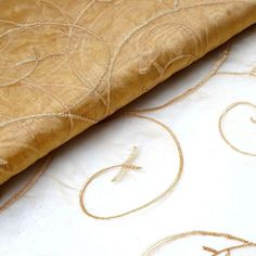Yards Sheer Organza With Satin Embroidery Fabric Bolt For Wedding Event Decoration - Gold - ChairCoverFactory Gold Wedding Decorations, Gold Wedding Theme, Wedding Events, Wedding Ideas, Gold Napkins, Embroidered Leaves, Gold For Sale, Embroidery Fabric