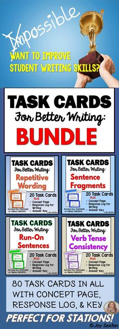 """Help your students learn to avoid those """"same old"""" errors: Sentence Fragments, Run-on Sentences, Repetitive Wording, and Verb Tense Consistency. All 4 sets of my Task Cards for Better Writing are bundled for savings. The task cards facilitate thinking and discussion, and improve student writing! Perfect for station work or small group targeted practice!"""