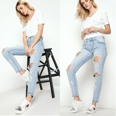 Leggings Jeans for Women Denim Pants with Rear buttock stitching Pentagram Skinny Jeans Casual, Girl Fashion, Fashion Outfits, Casual Outfits, Type Of Pants, Pants For Women, Clothes For Women, Shoes With Jeans, Colored Denim