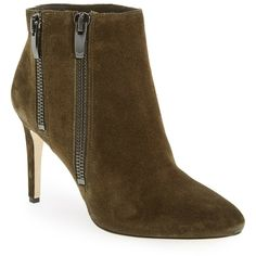 Via Spiga Vashti Almond Toe Bootie ($140) ❤ liked on Polyvore featuring shoes, boots, ankle booties, ankle boots, military, high heel stilettos, via spiga booties, via spiga boots, suede ankle boots and stiletto booties