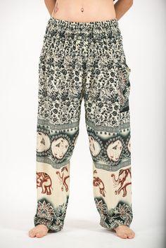 Football Elephants Prints Women's Harem Pants in Green