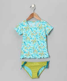 Take a look at this Turquoise Floral Ruffle Rashguard Set - Toddler & Girls by Azul Swimwear -August would love this one! Baby Swimwear, Baby Bikini, Mood Images, Cute Girl Outfits, Rash Guard, Cute Girls, Tankini, That Look, Turquoise