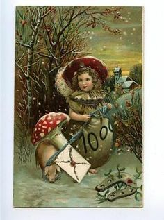 169870 NEW YEAR Girl as MUSHROOM & PIG vintage EMBOSSED PC