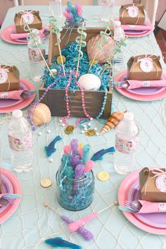 Printable Mermaid Birthday Party Package The prettiest Mermaid Birthday table set up Mermaid Theme Birthday, Little Mermaid Birthday, Little Mermaid Parties, Birthday Party Tables, 3rd Birthday Parties, Birthday Party Decorations, Mermaid Table Decorations, Little Mermaid Centerpieces, Mermaid Party Favors
