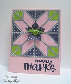 handmade quilt card: MFT Color challenge #36 ... pink, navy and lime green ... polka dots ... luv the shaped flower on top of the star quilt block die cut ...
