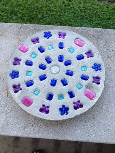 Homemade stepping stone with glass marbles my cottage garden homemade stepping stone workwithnaturefo