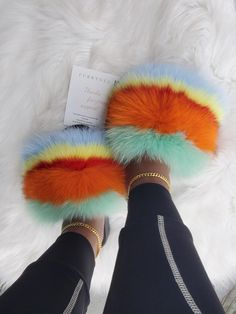 Hohe schuhe Tropics Blend women's slippers – Furrtoes World War II Weaponry Interestingly enough, tw Cute Sandals, Shoes Sandals, Shoes Sneakers, Fluffy Shoes, Cute Slides, Fuzzy Slides, Pink Slides, Vetement Fashion, Hype Shoes