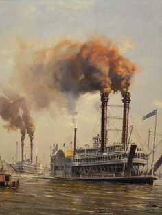 I love detailed painting of river boats on the Mighty Mississippi...especially painting that show river boats in New Orleans, Natchez or St. Louis.